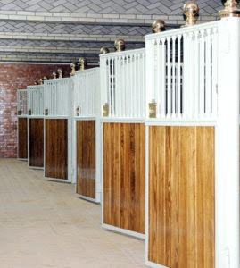 Stalls in the U.S. Equestrian Team Foundation stables are bright and shiny after a major refurbishment. (Photo copyright by Nancy Jaffer)